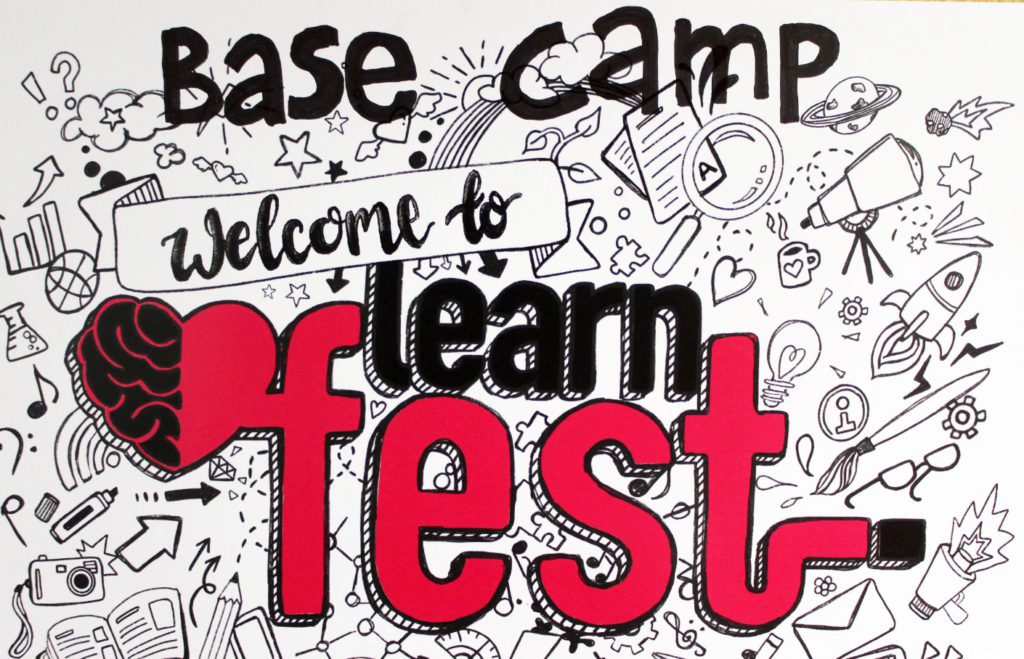 welcome image with writing saying Base Camp, Welcome to learn fest.